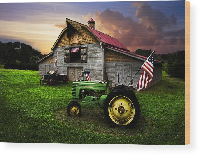 American Wood Print featuring the photograph God Bless America by Debra and Dave Vanderlaan