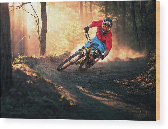 Action Wood Print featuring the photograph Golden Bermed Corner by Sandi Bertoncelj