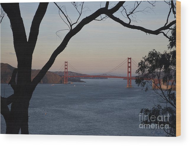 Golden Wood Print featuring the photograph Golden Gate Bridge - San Francisco California by S Mykel Photography