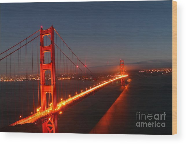 Golden Gate Bridge At Dusk Wood Print featuring the photograph Golden Gate Bridge by Theresa Ramos-DuVon