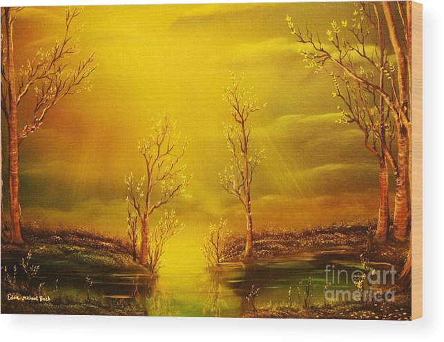 Golden Wood Print featuring the painting Golden Rays-original Sold-buy Giclee Print Nr 35 Of Limited Edition Of 40 Prints by Eddie Michael Beck