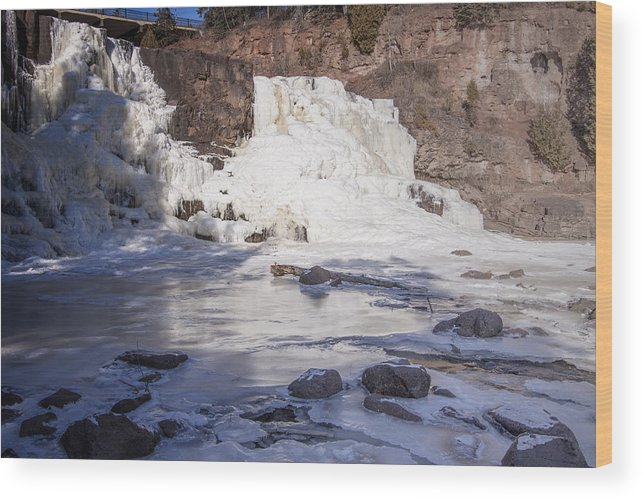 Winter Wood Print featuring the photograph Gooseberry Middle Falls In Winter by T C Hoffman