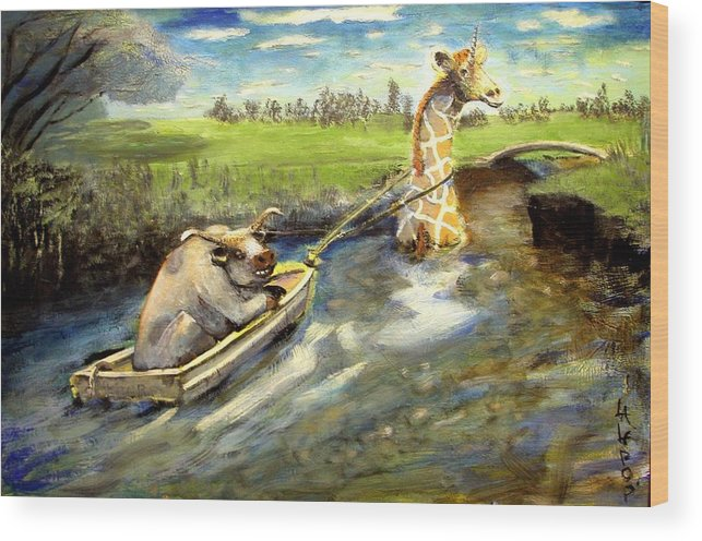 Bull Wood Print featuring the painting Grace And The Humbled Bull by James Lalepop Becker