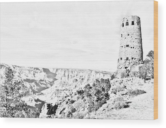 Travelpixpro Grand Canyon Wood Print featuring the digital art Grand Canyon National Park Mary Colter Designed Desert View Watchtower Black And White Line Art by Shawn O'Brien