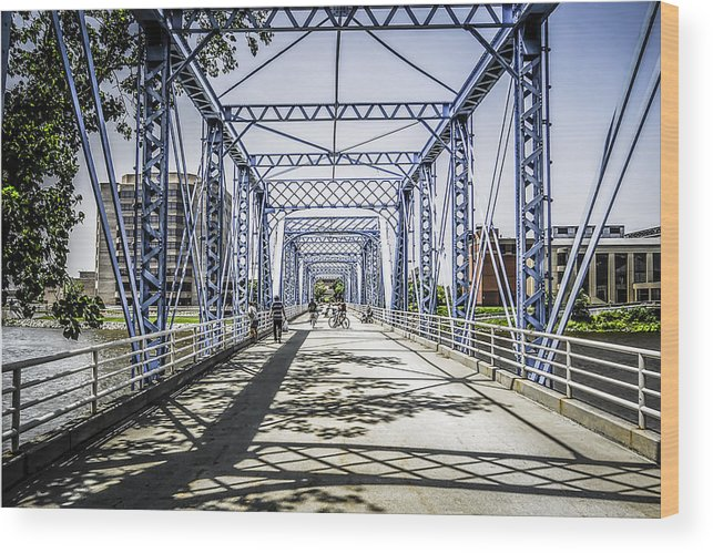 Grand Rapids Wood Print featuring the photograph Grand Rapids Bridge by Chris Smith