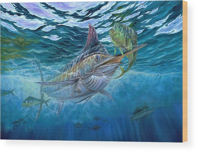 Blue Marlin Wood Print featuring the painting Great Blue And Mahi Mahi Underwater by Terry Fox