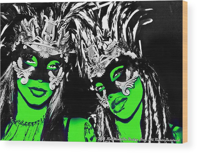 Two Wood Print featuring the photograph Green Mask by Ley Clarie Gray