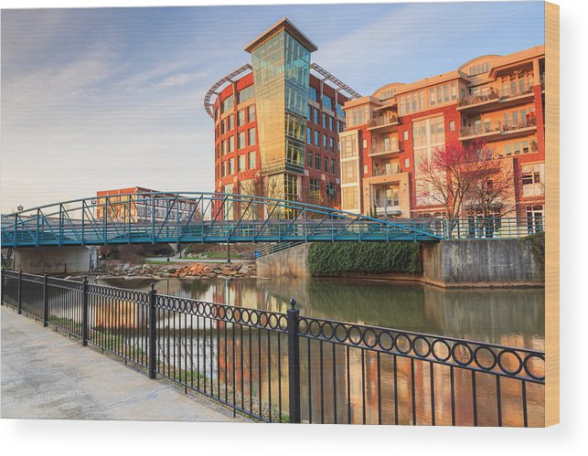 Downtown Greenville Wood Print featuring the photograph Dowtown Greenville South Carolina by Carol VanDyke