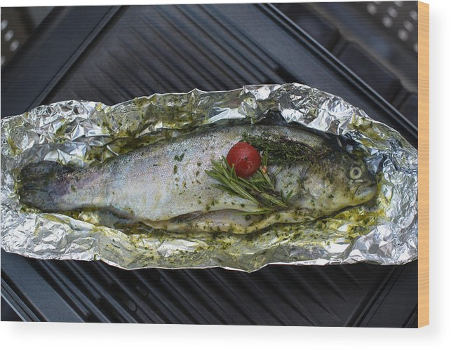 Fish Wood Print featuring the photograph Grilled Trout On Barbecue by Frank Gaertner