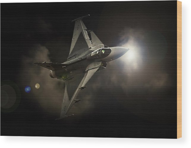 Saab Jas 39 Gripen Wood Print featuring the photograph Gripen Light by Paul Job