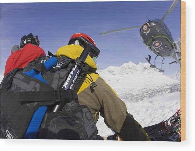Alaska Wood Print featuring the photograph Group Heli Skiing, Helicopter Taking by Gabe Rogel