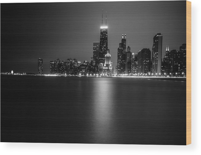 Chicago Wood Print featuring the photograph Hancock Building Reflection From North Ave Beach - Black And White by Anthony Doudt