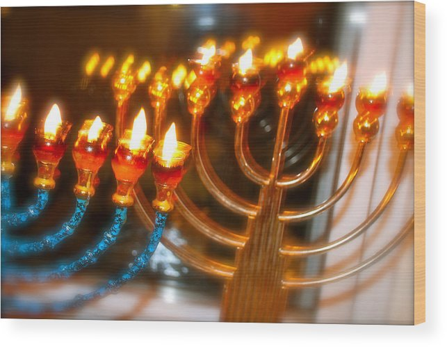 Chanukah Hanaukah Menorah Hanahkiah Jewish Holidays Wood Print featuring the photograph Hannakiot by Shmuel Vick