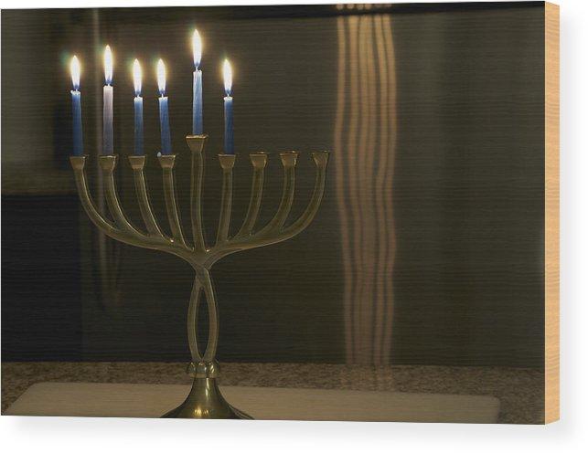 Hanukiah Jewish Holidays Chanukah Wood Print featuring the photograph Hanukiah by Shmuel Vick