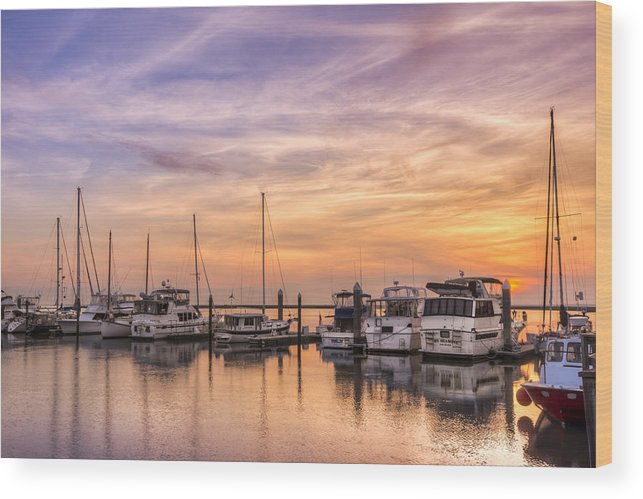 Boats Wood Print featuring the photograph Harbor At Jekyll Island by Debra and Dave Vanderlaan
