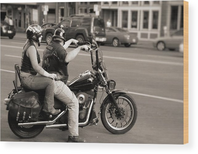 Harley Davidson Black And White Wood Print featuring the photograph Harley Davidson Black And White by Dan Sproul