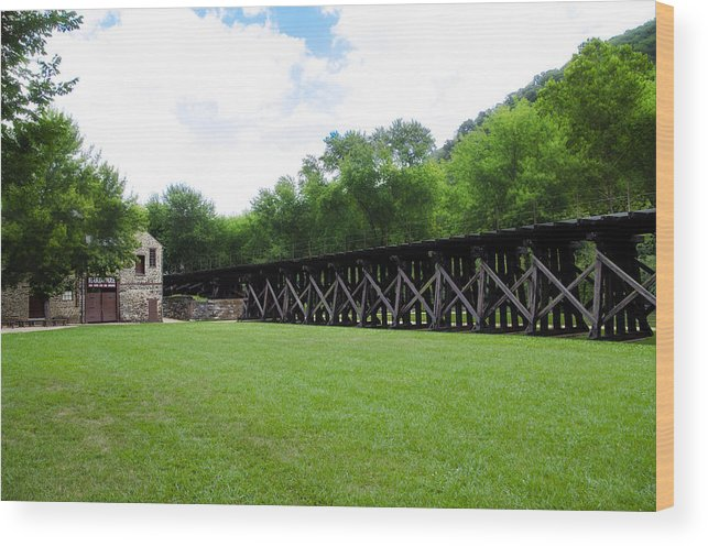 Harpers Wood Print featuring the photograph Harpers Ferry Hardware And Railroad by Bill Cannon