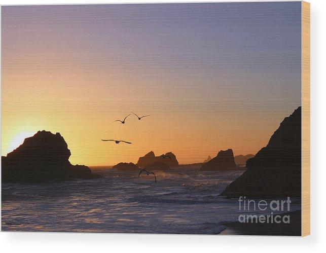 Ocean Wood Print featuring the digital art Harris Beach State Park by Irina Hays