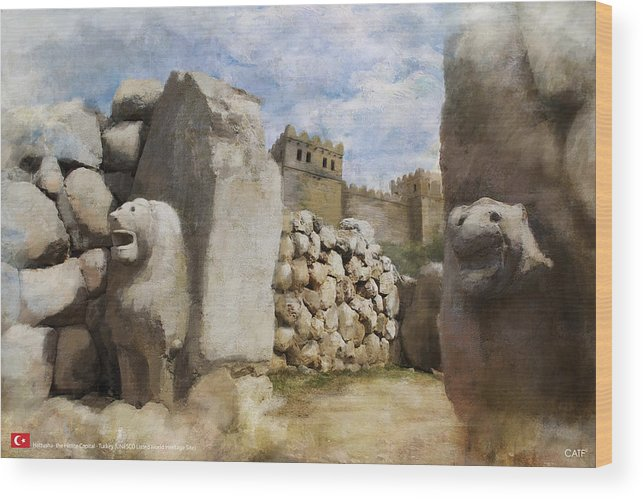 Wood Print featuring the painting Hattusha The Hittite Capital by Catf