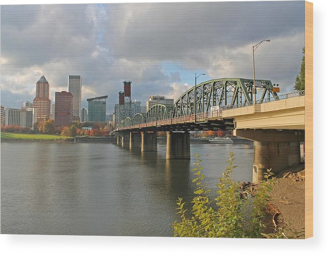 Bridges Wood Print featuring the photograph Hawthorne Bridge Portland 001 by Mark Simpson