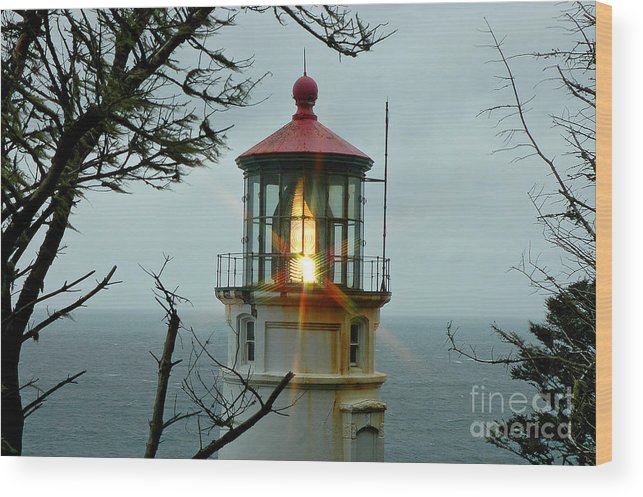 Beacon Wood Print featuring the photograph Heceta Head Lighthouse by Nick Boren