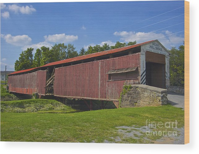 Lancaster County Wood Print featuring the photograph Herr Mill Covered Bridge by Lori Amway