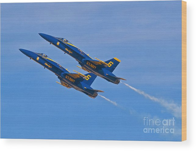 Blue Angels Wood Print featuring the photograph High Alpha- Blue Angels by Steve Rowland