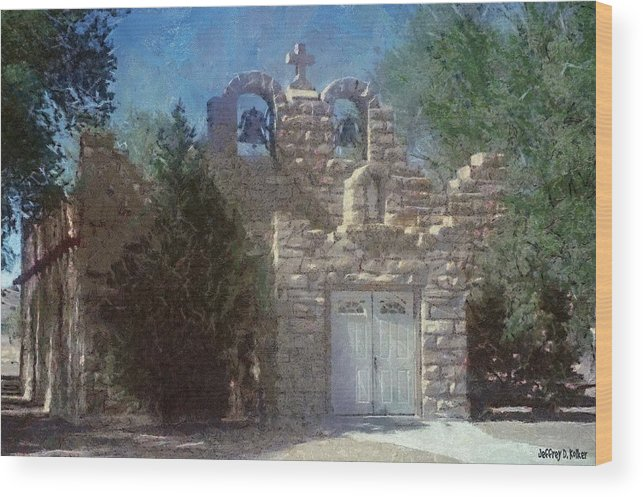 Architecture Wood Print featuring the painting High Desert Church by Jeffrey Kolker