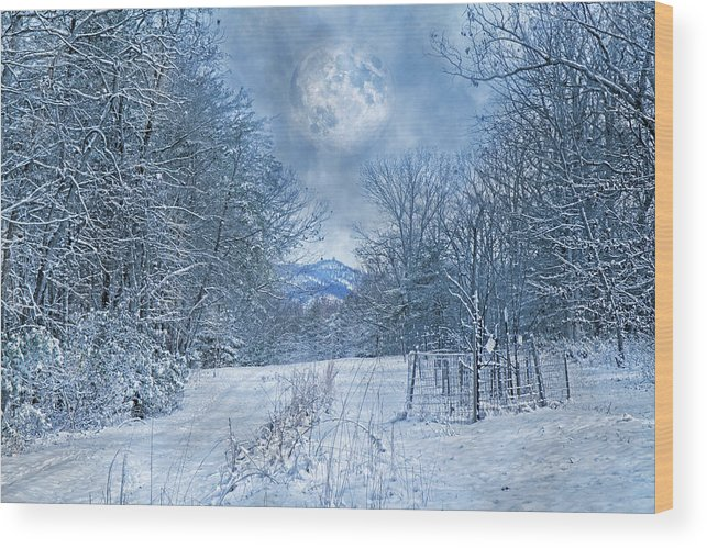 Winter Wood Print featuring the photograph High Peak Mountain Snow by Betsy Knapp