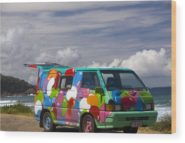 Hippie Wood Print featuring the photograph Hippie Man Van by Martin Berry