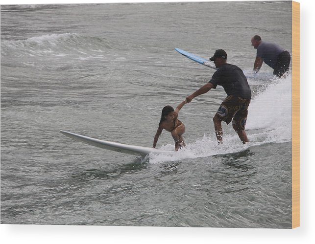 Surfing Wood Print featuring the photograph Hold On Dad by Dick Willis