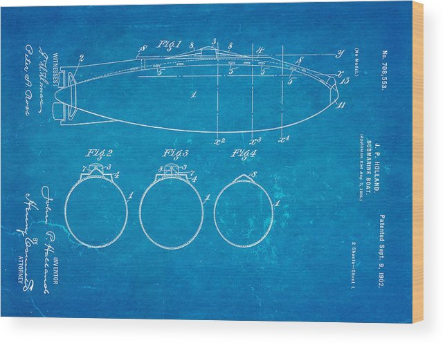 Engineer Wood Print featuring the photograph Holland Submarine Patent Art 1902 Blueprint by Ian Monk