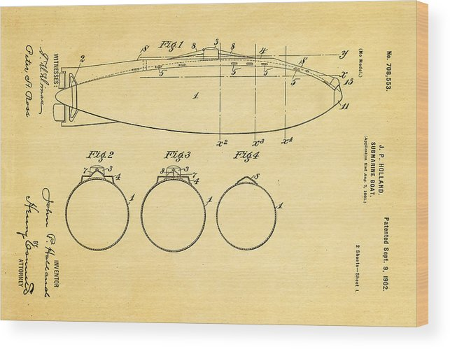 Engineer Wood Print featuring the photograph Holland Submarine Patent Art 1902 by Ian Monk