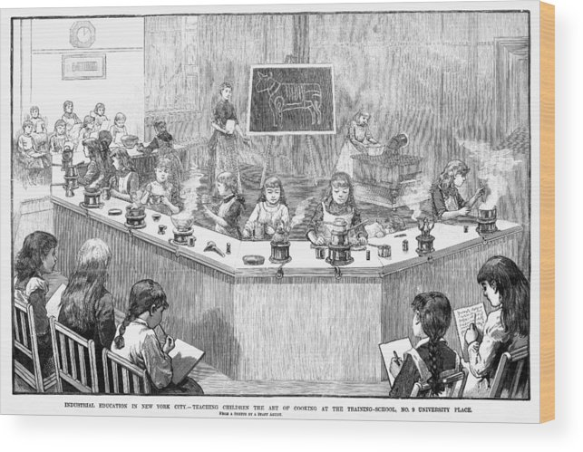 1886 Wood Print featuring the photograph Home Economics Class, 1886 by Granger