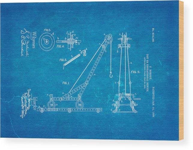 Hornby meccano patent art 1906 blueprint wood print by ian monk construction wood print featuring the photograph hornby meccano patent art 1906 blueprint by ian monk malvernweather Images