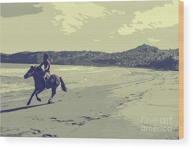 Riding Wood Print featuring the digital art Horse Rider by Benjamin Howell