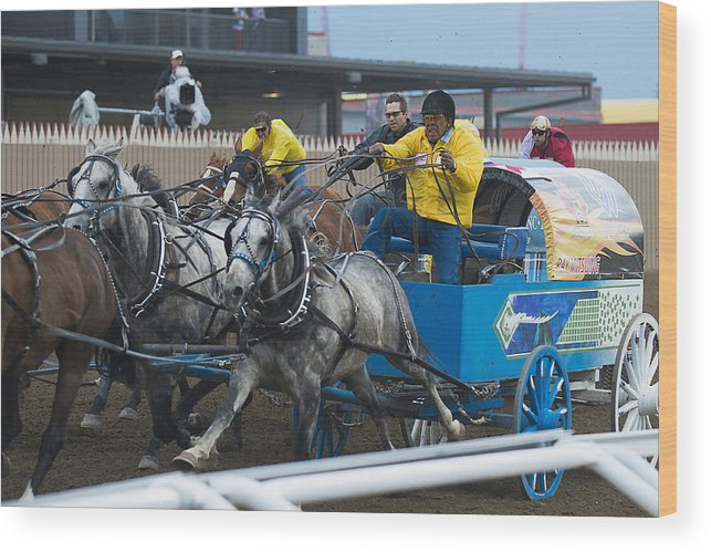 2014 Wood Print featuring the photograph Horses And Wagon by Bill Cubitt