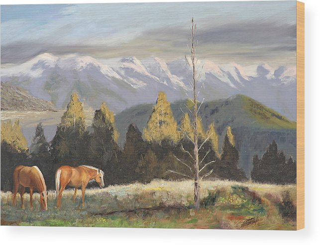 Landscape Wood Print featuring the painting Horses Of The Tetons by Tommy Thompson