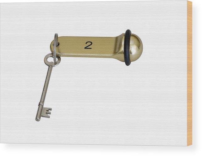 504156e6fe584 White Background Wood Print featuring the photograph Hotel Key