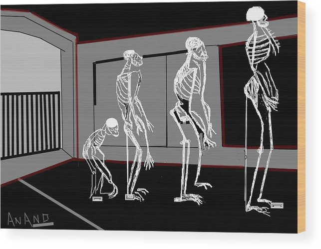 Human Evelution-2 Wood Print featuring the digital art Human Evelution-2 by Anand Swaroop Manchiraju