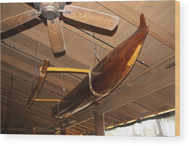 Canoe Wood Print featuring the photograph Hung From The Ceiling by Dick Willis