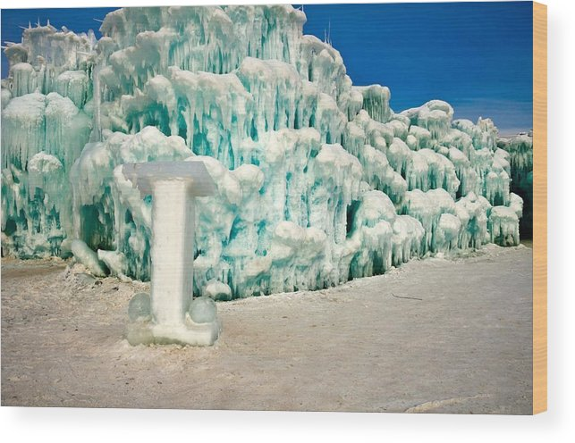 Ice Castle; Ice; Snow; Winter Wood Print featuring the photograph Ice Castle Chapel by Lonnie Paulson