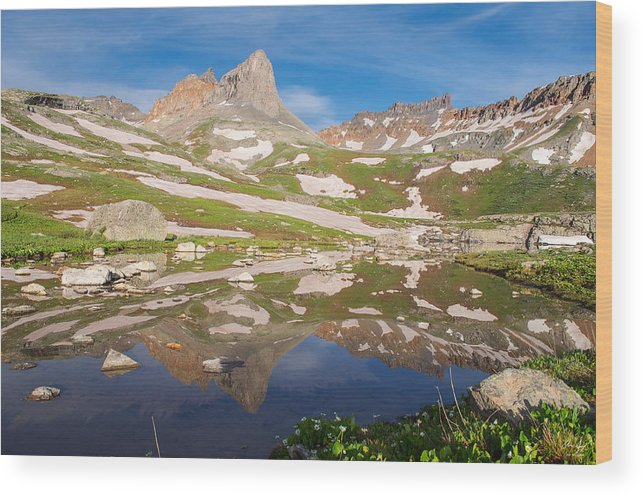 Landscape Wood Print featuring the photograph Ice Lakes Reflection by Aaron Spong