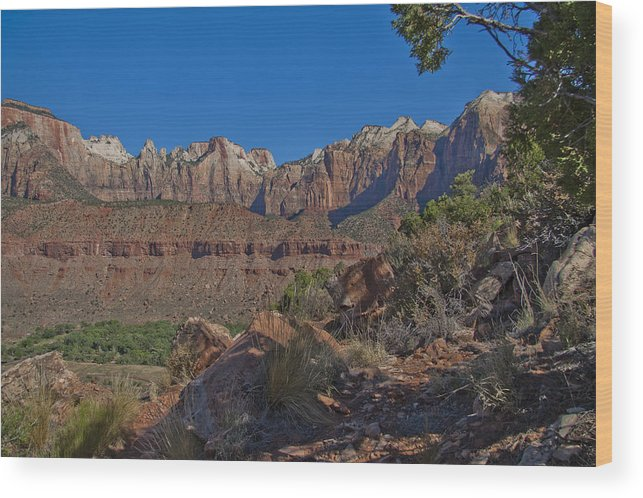 Zion Wood Print featuring the photograph Image Of Zion 02 by Her Arts Desire