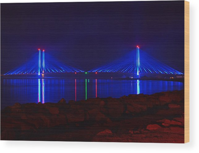 Indian River Bridge Wood Print featuring the photograph Indian River Inlet Bridge After Dark by Bill Swartwout Fine Art Photography