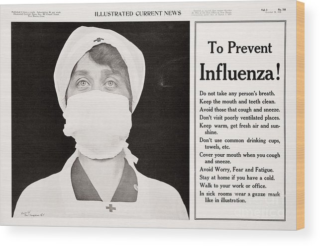 1918 Influenza Pandemic Wood Print featuring the photograph Influenza Prevention, 1918 Pandemic by National Library Of Medicine