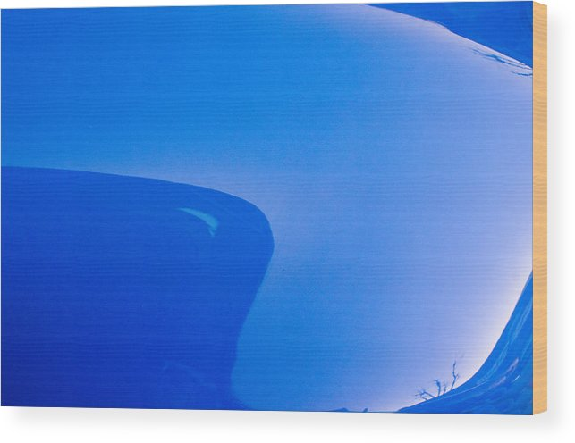Blue Abstract Classic Car Fender Reflection Soft Edge Wood Print featuring the photograph Inner Wave by Dan Meylor