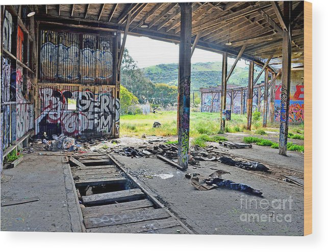 Destroyed Wood Print featuring the photograph Inside The Old Train Roundhouse At Bayshore Near San Francisco And The Cow Palace Iv by Jim Fitzpatrick