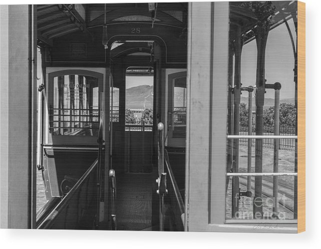 Iris Holzer Richardson Wood Print featuring the photograph Inside Trolley 28 Black And White by Iris Richardson