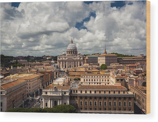Dome Wood Print featuring the photograph Italian City Rome Overview by Alex Anashkin